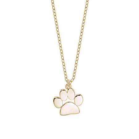 - Womens Dog Pet Cat Silver 925 Plated Animal Paw Print Footprint Necklace Pendant (Gold)