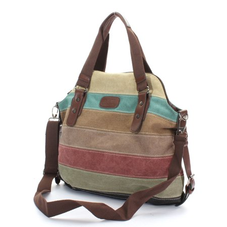 Fashion Stripe Leisure Multicolor Canvas Shoulder Bag Tote Handbags for Women Cross Body Bag