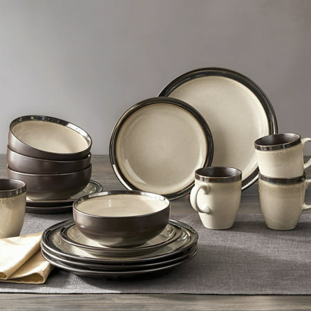Better Homes & Gardens 16-Piece Sierra Dinnerware Set, Beige