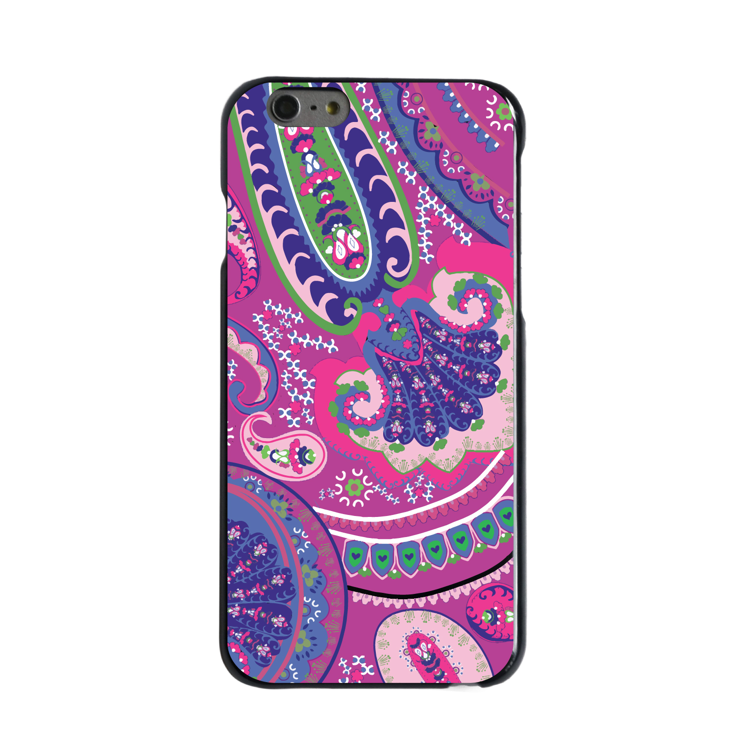 "CUSTOM Black Hard Plastic Snap-On Case for Apple iPhone 6 PLUS / 6S PLUS (5.5"" Screen) - Pink Purple Green Paisley"