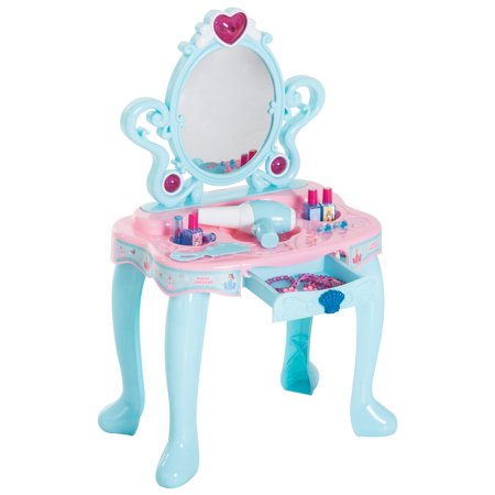 Qaba Kids Princess Vanity Table Pretend Play Set with Lights, Sounds, and Accessories - Light Blue/Pink