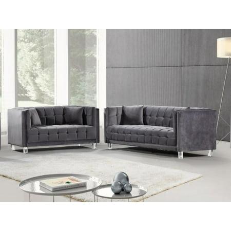 Grey Velvet Acrylic Leg Sofa & Loveseat Set 2Pcs Meridian Furniture 629  Mariel