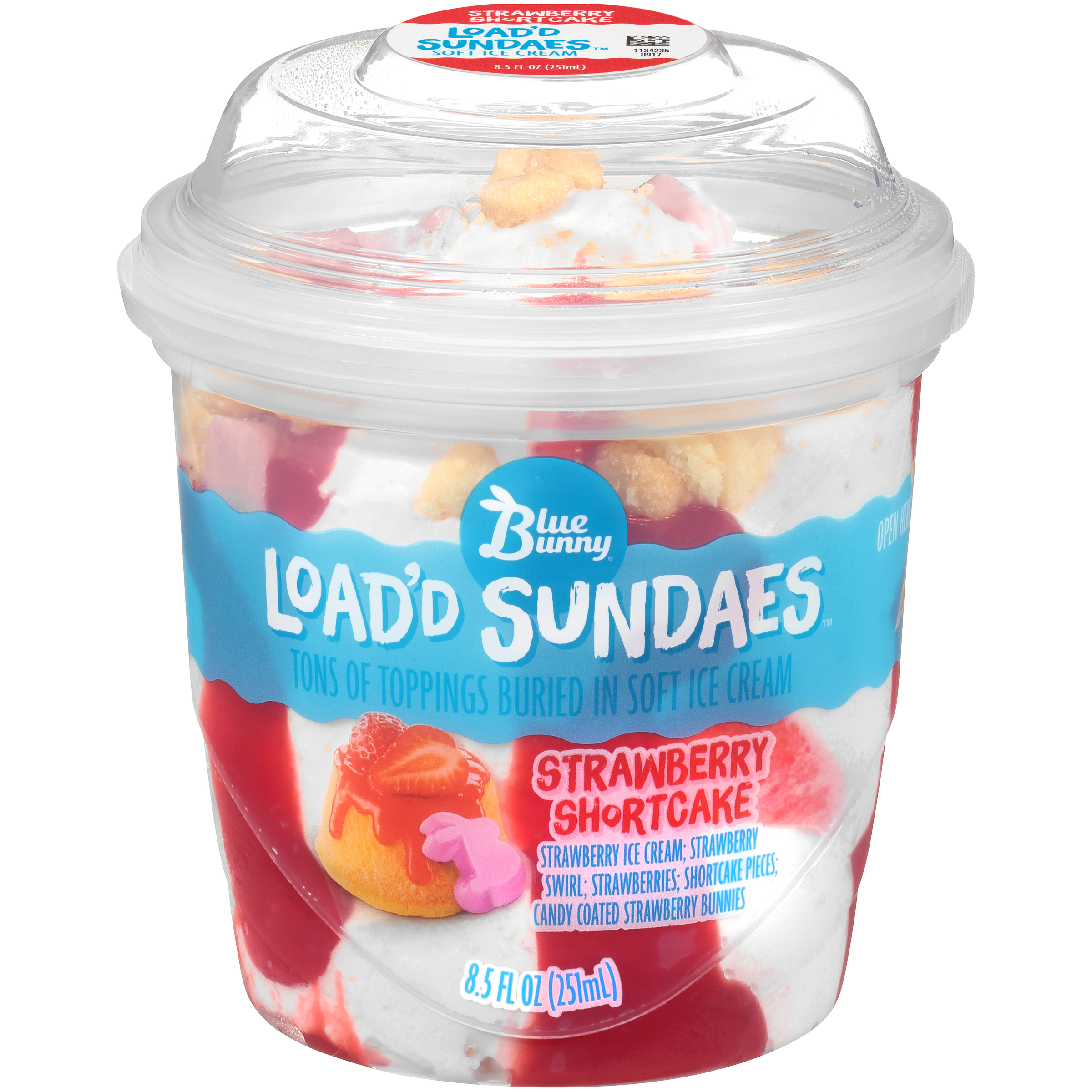 Blue Bunny Strawberry Shortcake Load'd Sundaes™ Ice Cream Cup, 8.5 fl oz