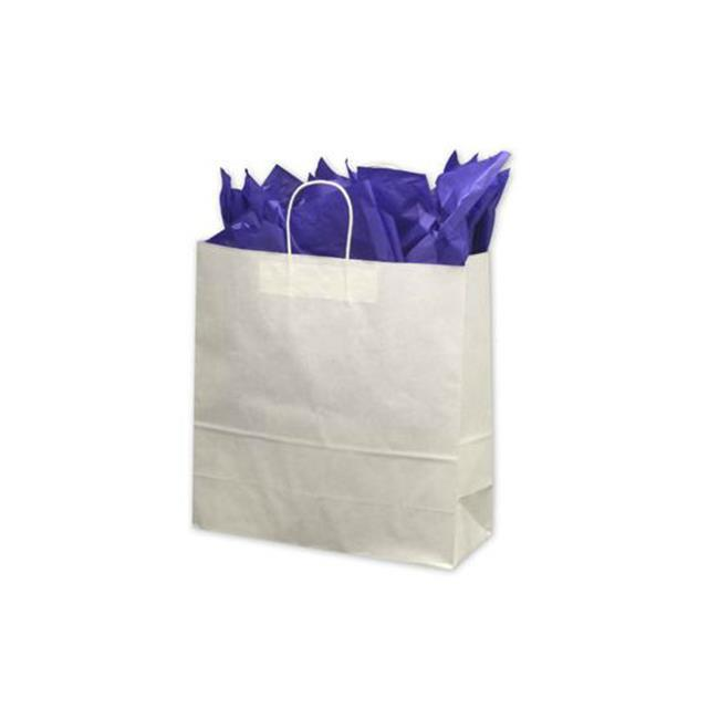Bags & Bows by Deluxe 14-180718-9M White Paper Shoppers Jumbo - Case of 200