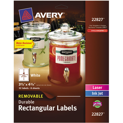 "Avery Removable Durable Labels, TrueBlock Technology, 4.75"" x 3.5"", White, 32-Pack"