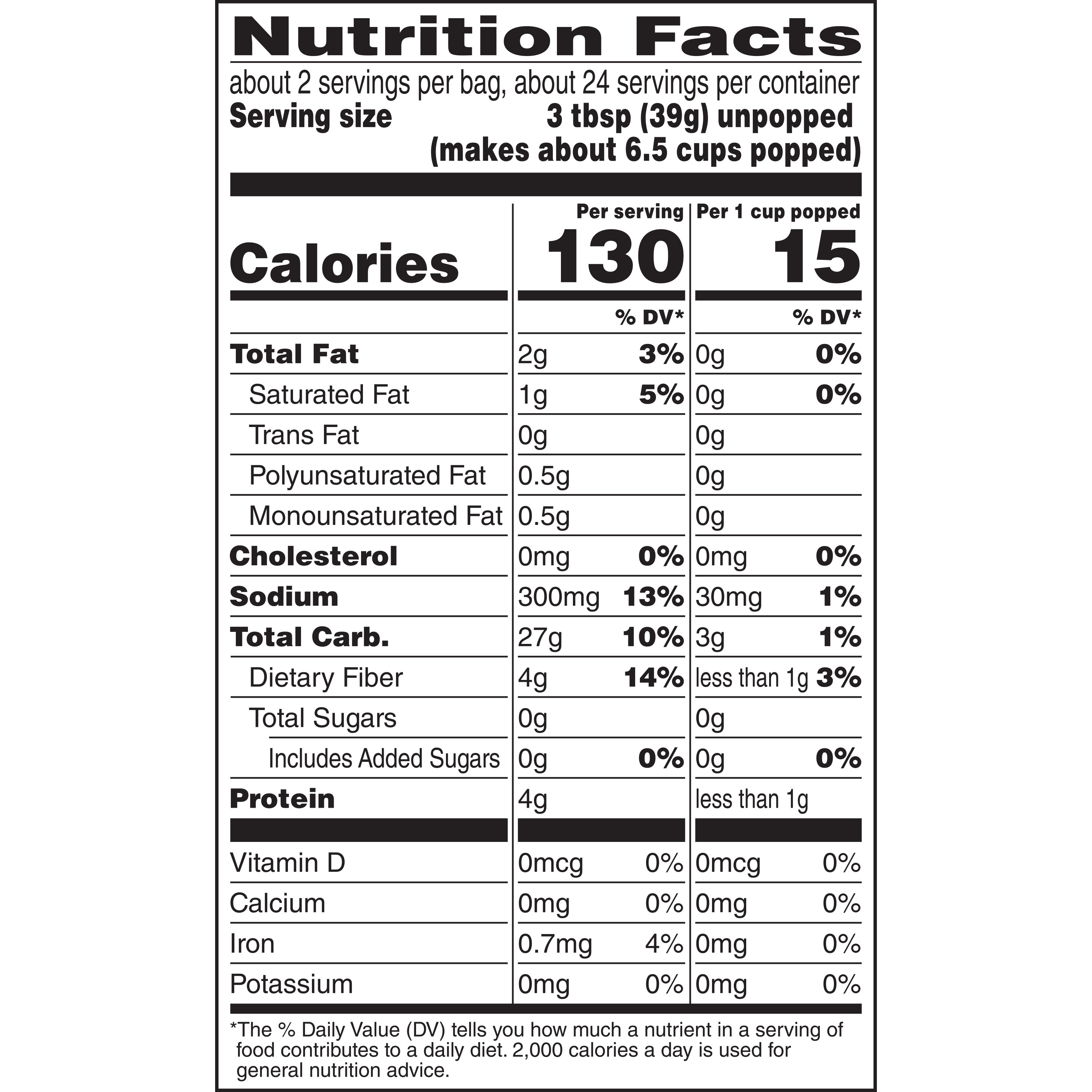 act ii 94 fat free popcorn nutrition facts