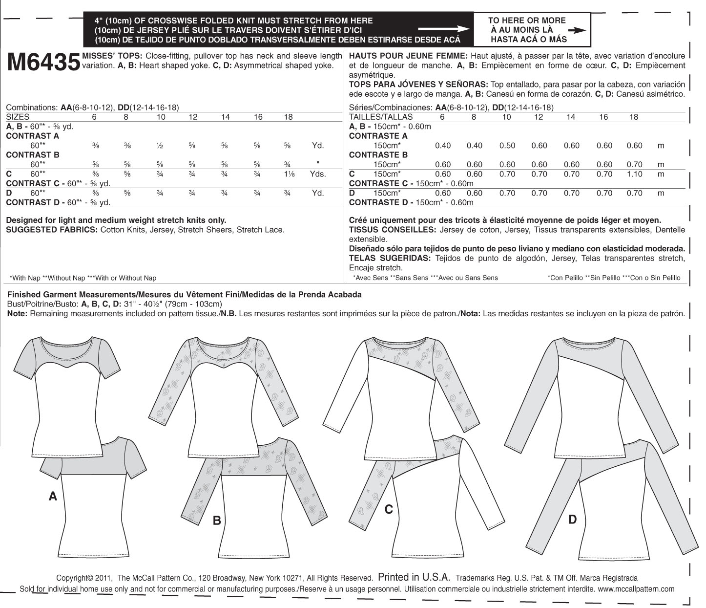 Misses\' Tops-AA (6-8-10-12) -*SEWING PATTERN*
