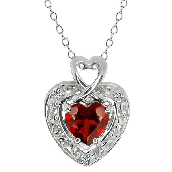 1.54 Ct Heart Shape Red Garnet White Diamond 18K White Gold Pendant