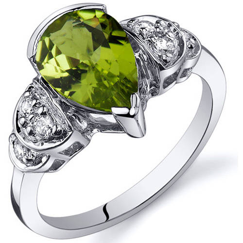 Oravo 1.75 Carat T.G.W. Peridot Rhodium-Plated Sterling Silver Engagement Ring