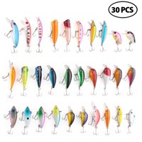 30 Pcs Crankbaits All-water Fishing Lure Minnow Baits with Treble Hooks, 1.6 to 3.7 in.