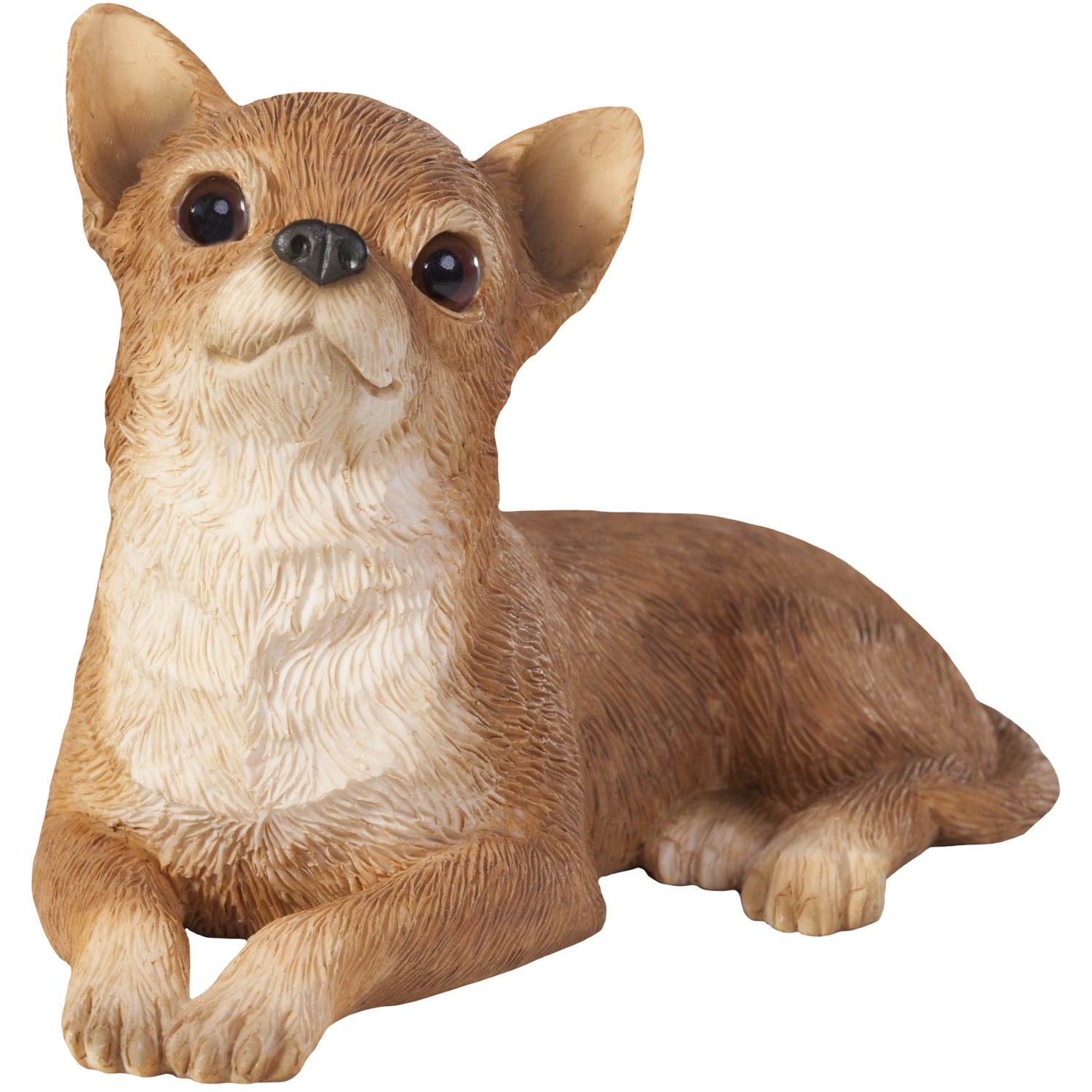 "Sandicast ""Small Size"" Lying Tan Chihuahua Dog Sculpture"