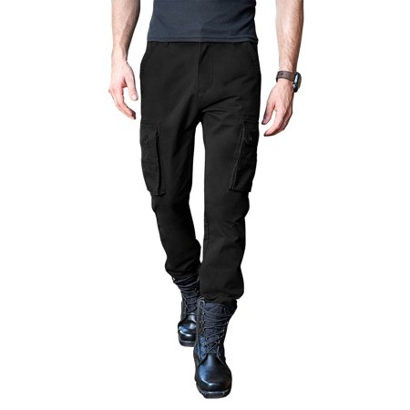 Mens Cargo Pants with Utility Belt Multi Purpose Pocket Lightweight Relaxed Straight Fit Twill Cotton Work Outdoor