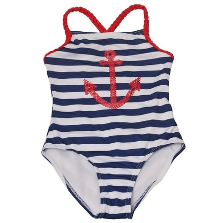Penelope Mack Little Girls Navy Red Anchor Detail One Piece Swimsuit