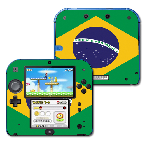 Mightyskins Protective Vinyl Skin Decal Cover for Nintendo 2DS wrap sticker skins Brazilian Flag
