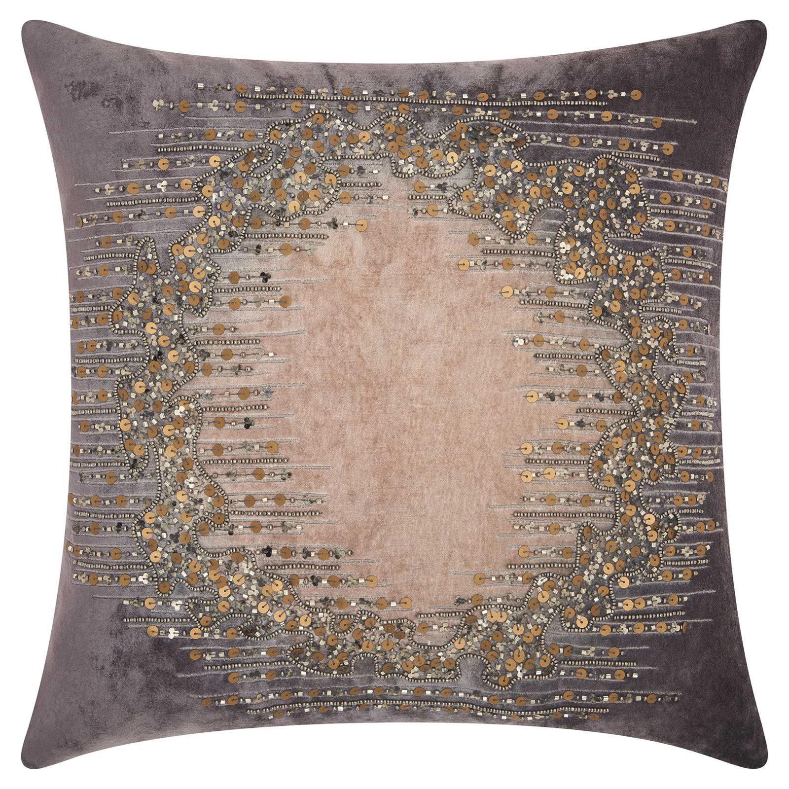 Nourison Couture Luster Beaded Lunar Reflect Charcoal Throw Pillow by Nourison