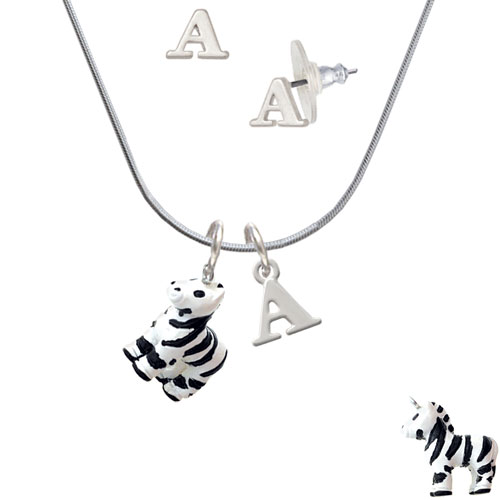 Resin Zebra - A Initial Charm Necklace and Stud Earrings Jewelry Set