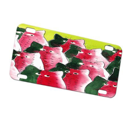 KuzmarK Automobile Car Tag License Plate -  Watermelon Kitties Abstract Cat Art by Denise Every (Watermelon Plates)