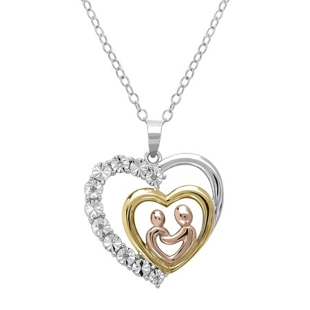 Gold Colored Diamond Pendants (Amanda Rose Tri Colored Sterling Silver Mother and Child Diamond Heart Necklace )