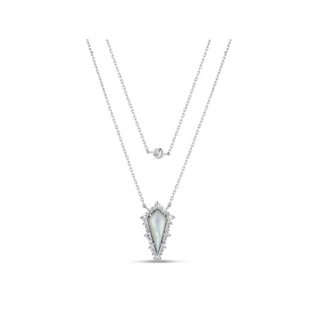 Mother Of Pearl and White Cubic Zirconia Sterling Silver Rhodium Plated Rhombus Triangle Layered Necklace, 18