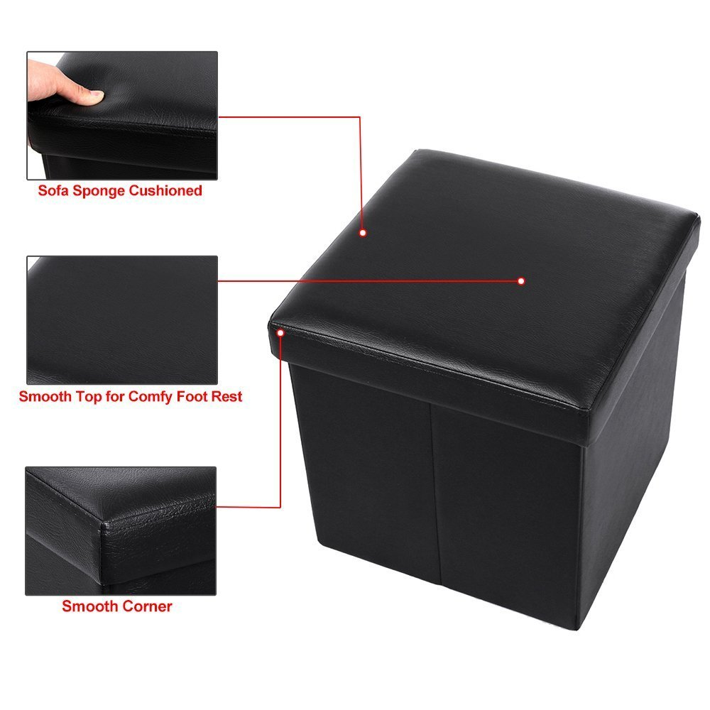 """Zimtown 15"""" x 15"""" x 15"""" Storage Ottoman Cube/Footrest Stool/Coffee Table/Puppy Step, Faux Leather,Brown/Black"""