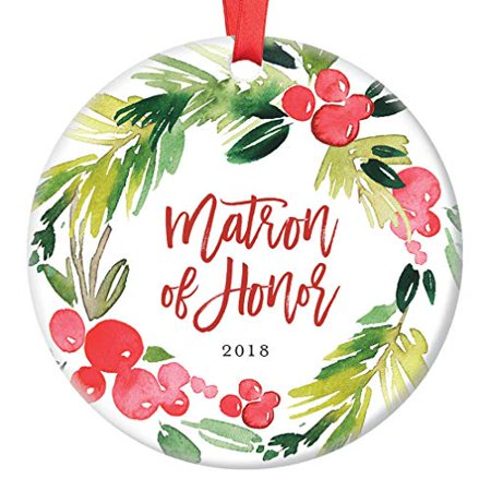 Matron of Honor Gifts, Christmas Ornament Best Friend 2019, Will You Be My Matron of Honor? Proposal Wedding Party Favor Ceramic Present 3