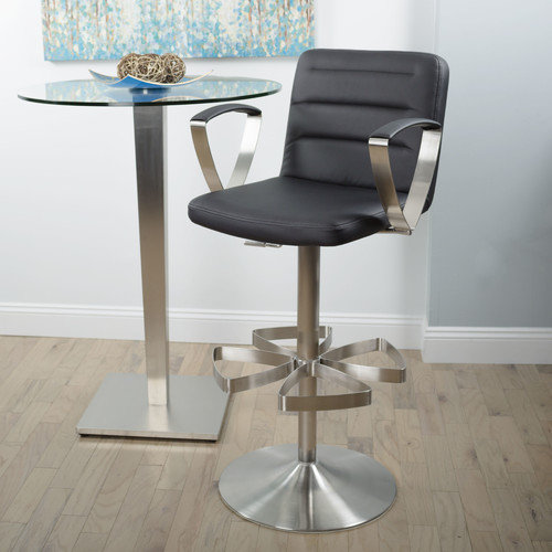 Matrix Brushed Stainless Steel Adjustable Height Swivel Stool with Arms X Base