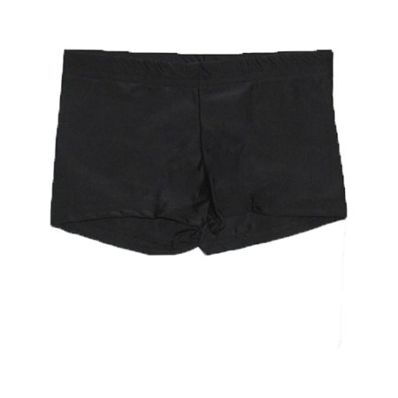 Girls Black Solid Color Stretchy Dancewear Booty Shorts