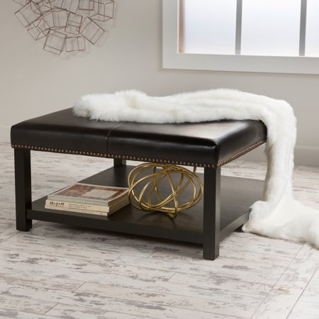 Noble House Edwin Brown Bonded Ottoman Coffee Table ()