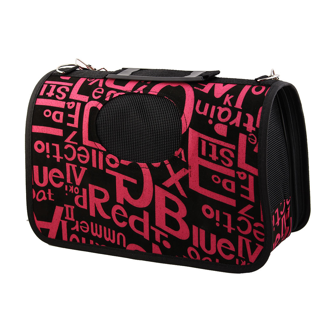 Outdoors Nylon Letter Print Meshy Zipper Closure Pet Carrier Dog Cat Handbag Bag