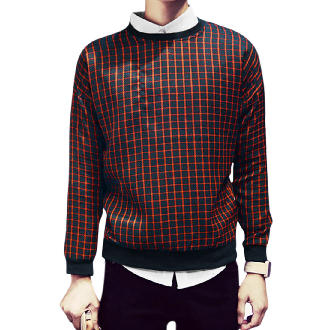 Azzuro's Crew Neck Long Sleeves Pullover Plaids Print Leisure Sweatshirt