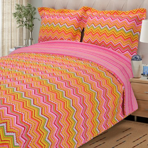 Simple Luxury Zig Zag 2 Piece Reversible Quilt Set