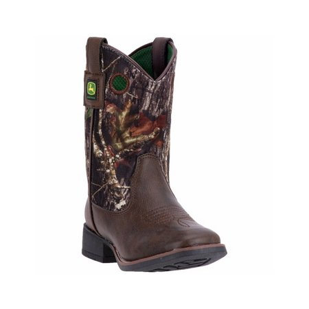 94c41a607bb John Deere Western Boots Boys Leather Square Rubber Dark Brown JD2043
