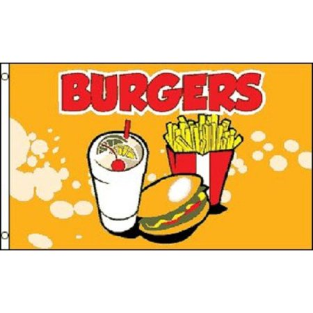Tent Banner (BURGERS Flag Fast Food Restaurant Sign Food Tent Banner Hamburger Pennant 3x5, Home and Holiday Flags By Home and Holiday)