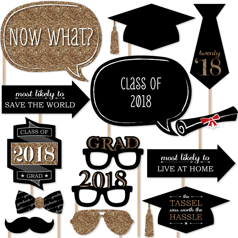 Graduation Party - Gold - 2018 Photo Booth Props Kit - 20 Count