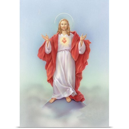 Great BIG Canvas | Rolled Christo Monti Poster Print entitled Jesus in a red - Jesus In Robe