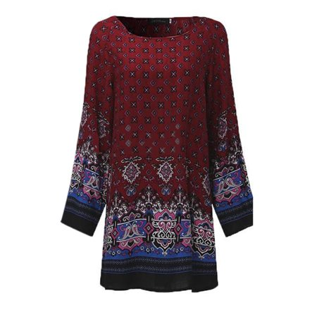 557ed244253 Sexy Dance - Ladies Casual Party Boho Baggy Round Neck T Shirts Short Mini  Dresses Long Sleeve Loose Long Tunic Tops Floral Printed Dress - Walmart.com
