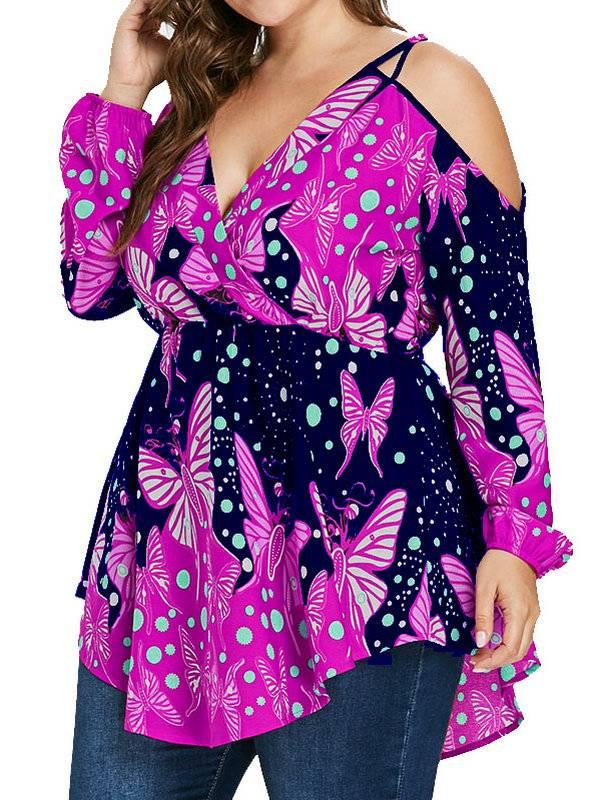 AKFashion Women's Plus Size Spaghetti Strap Cold Shoulder Long Sleeve V Neck Irregular Floral Blouse Shirts Tops