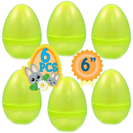 Big Easter Eggs (PLAYOLY 6 Jumbo Yellow Fillable Plastic Easter Egg Hunt Party Supply Pack - 6-Inch Transparent Glitter Color Plastic Big)