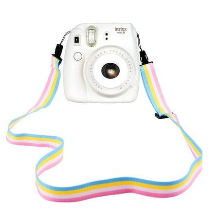 elvam camera neck shoulder strap belt in rainbow blue yellow white pink color for digital camera / fujifilm instax camera mini 9 / mini 8 / mini 8+ / mini 7s / mini 25 / mini 50s / mini