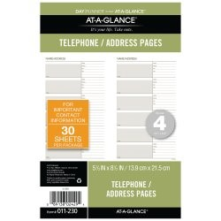 "AT-A-GLANCE Day Runner Telephone/Address Pages, Loose-Leaf, Undated, 5 1/2"" x 8 1/2"""