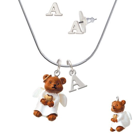 Right Angle Stud - Resin Angel Bear - A Initial Charm Necklace and Stud Earrings Jewelry Set