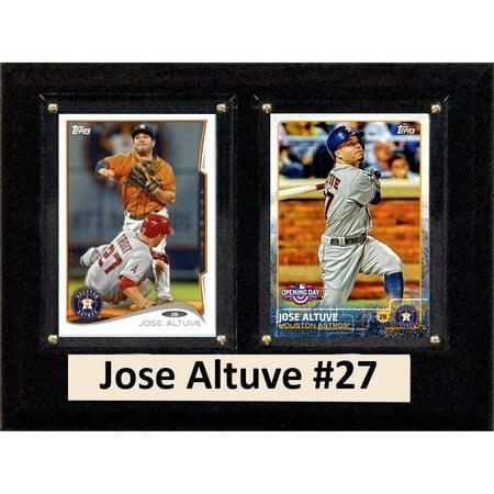Houston Astros Sign - C&I Collectables MLB 6x8 Jose Altuve Houston Astros 2-Card Plaque