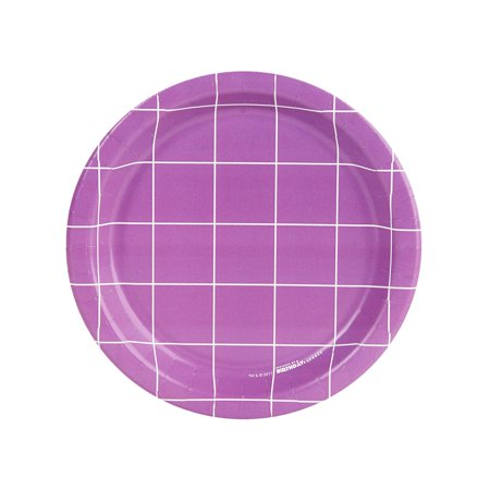 Fancy Floral Purple Grid Dessert Plate (8)