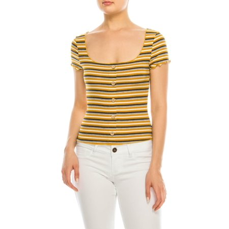 Ruffle Front Knit Shirt (Salt Tree Women's Scoop Neck Front Button Ruffled Stripe Knit Crop Top)