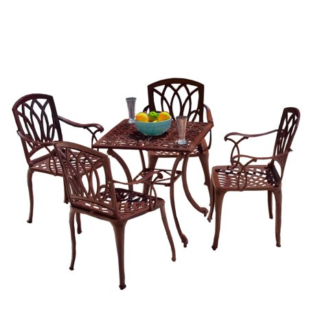 cast aluminum brown outdoor table and chairs. Black Bedroom Furniture Sets. Home Design Ideas