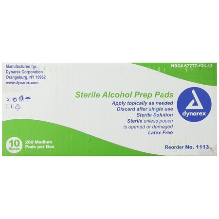 Alcohol Prep Pad, Medium, Sterile, 2,000 Count, Sealed in sterile airtight, poly-lined foil pouches minimizing dry pads By