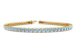 9 Inch 3 1 2 Carat Aquamarine Tennis Bracelet In 14K Yellow Gold by