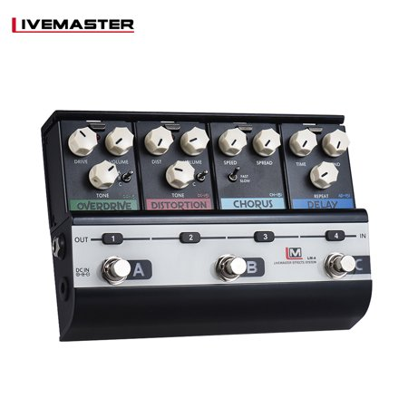 BIYANG LiveMaster Series LM-4 Mainframe Unit Fashionable Style Set with 4 Guitar Effect Pedals (OD-151 Overdrive + DS-151 Distortion + CH-151 Analog Chorus + AD-151 Analog Delay (Best Analog Distortion Pedal)