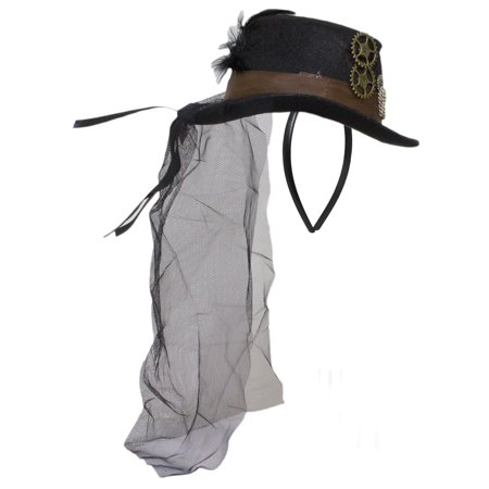 Steampunk Top Hat Headband W/ Veil, Brown Band and Gears - Top Hat With Veil