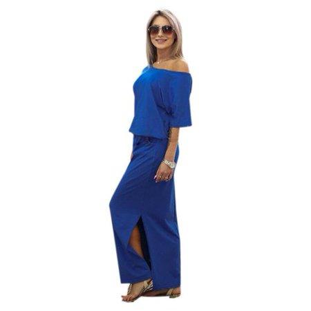 Women Summer Long Maxi BOHO Evening Party Dress with Pocket